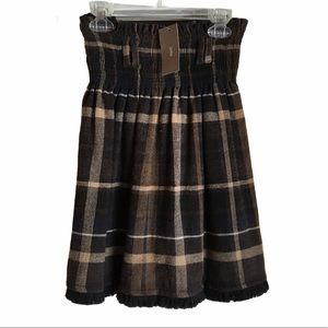 ⬇️Zara Wool Fringe Plaid Midi Skirt